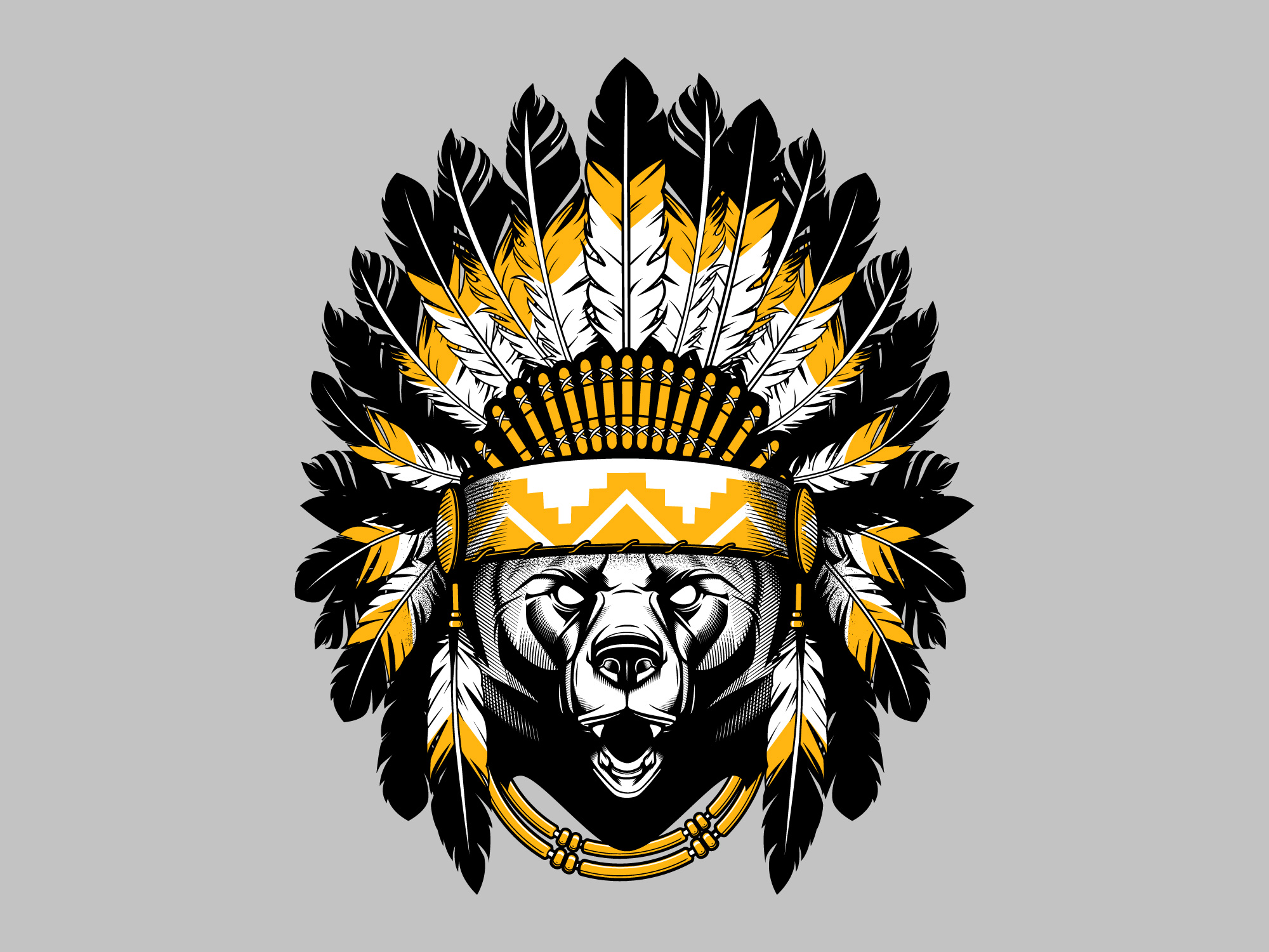 Native AmericanChief-Bear-T-shirt-Design-by-Old-Dirty ...
